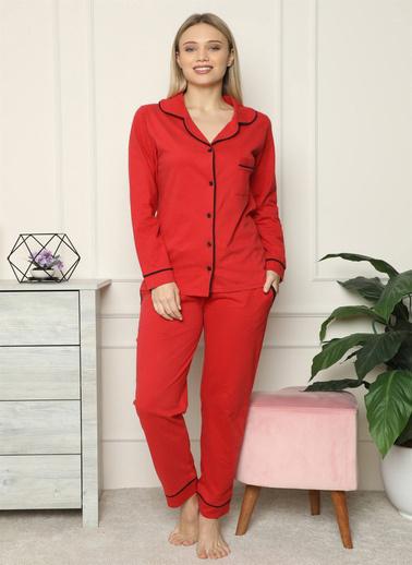 Akbeniz Kadın %100 Pamuk Penye Önden Düğmeli Uzun Kol Pijama Takım 2714 Kırmızı